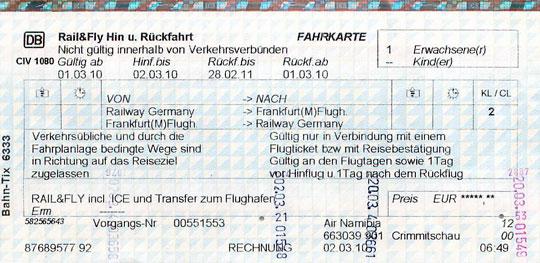 Rail-&-Fly-Ticket der Deutschen Bahn