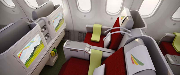 Boeing 787 der Ethiopian Airlines, Business-Class © Foto: Ethiopian Airlines