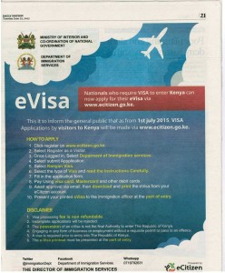 E-Visa Notice - June 2015