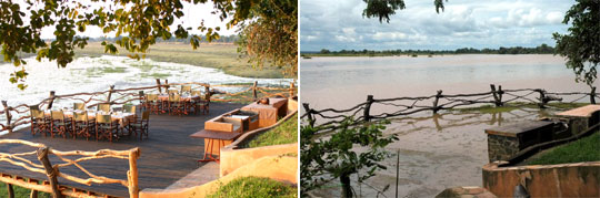 Speise-Deck der Kafunta River Lodge im South Luangwa NP (Zambia), links in der Trockenzeit, rechts am Ende der Regenzeit