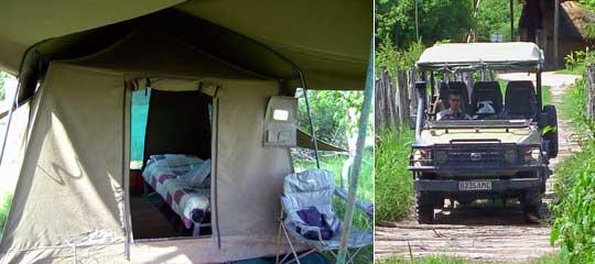 Komfort-Zelt und offenes Pirschfahrzeug von Letaka Safaris. | © Foto: Jens Döring / Outback Africa Erlebnisreisen