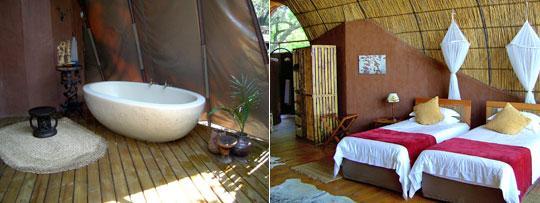 Das Okuti Camp von seiner schönsten Seite: Die großzügig geschnittenen Zelte versprühen einen Hauch von Luxus. © Fotos: Jens Döring