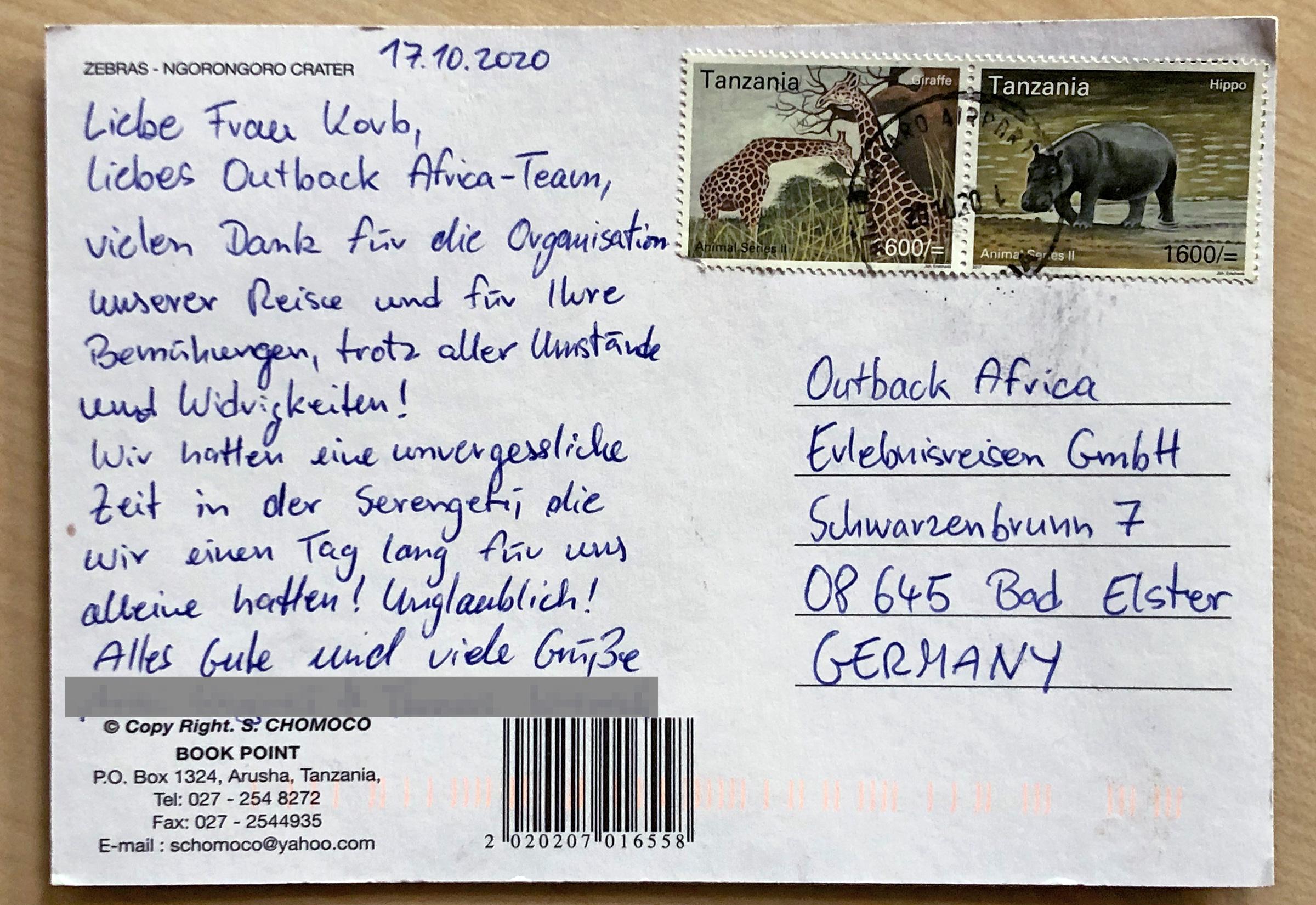 Postkarte aus Tansania.
