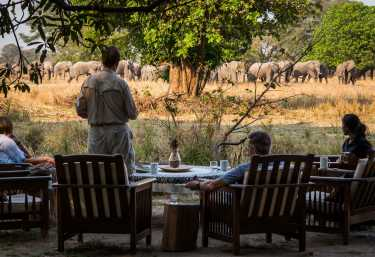 Elefantenherde vor dem Luwi Bushcamp  © Foto: Time+Tide