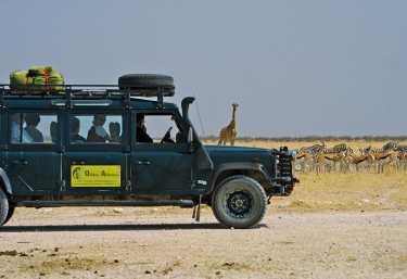 Mit dem Allradwagen auf Pirschfahrt im Etosha-Nationalpark.